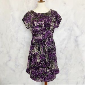 Anna Sui Anthropologie   Abstract Print Wool Dress